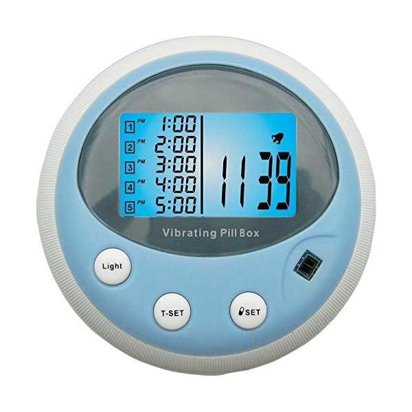 Pastillero vibrador profesional con alarma de pitido y vibración, reloj despertador (5 alarmas/día) 4