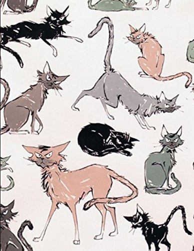 Alexander Henry '9 Ghastlie Lives' Allover Halloween Scarey Cats on Natural Cotton Fabric 44-45 Inches Wide -