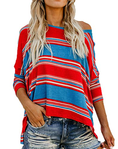 Tees Col Shirts Fashion Longues Shirts Tops Pulls Automne Rouge Shirts Blouse Manches Casual Jumpers Printemps Rond Hauts Patchwork Raye Femmes T Sweat et I7XnwqSv