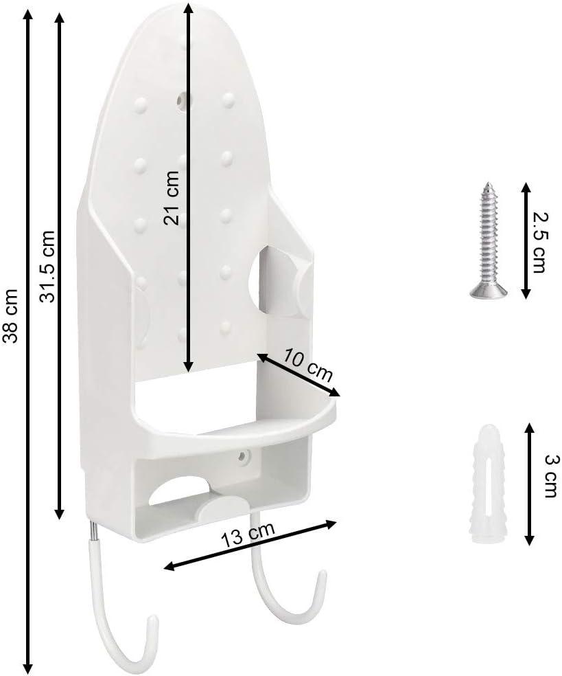 Planche /à Repasser PBT pour diff/érentes Tables /à Repasser et Fer /à Repasser 13,3/×29,4 cm Golrisen Support Mural pour Planche /à Repasser avec 2 Crochets