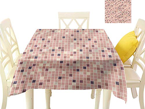 WilliamsDecor Small Tablecloth Dusty Rose,Square Shapes Mosaic Waterproof Table Cloth W 50