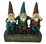 No Evil - 11'' Welcome Garden Gnomes - See no evil, Hear no evil, Speak no evil Figurine by Harmony Fountains HF-G10