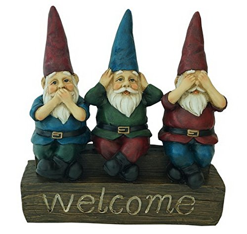 No Evil – 11″ Welcome Garden Gnomes – See no evil, Hear no evil, Speak no evil Figurine by Harmony Fountains HF-G10