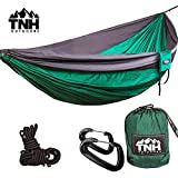 TNH Outdoors Double & Single Camping Hammocks - Lightweight Nylon Portable Hammock, Best Parachute Hammock for Backpacking, Camping, Hiking, Beach with Free Heavy Duty Carabiner Clips