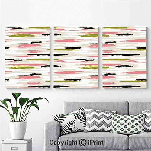 - Modern Salon Theme Mural Bold Pattern with Thick Brushstrokes and Stripes Hand Painted Boho Print Painting Canvas Wall Art for Home Decor 24x36inches 3pcs/Set, Coral Black Olive Green