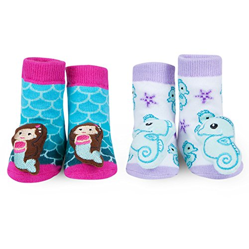 rmaid and Seahorse Rattle Socks Pink Purple Blue 0-12 Mth Gift (Horse Infant Rattle)