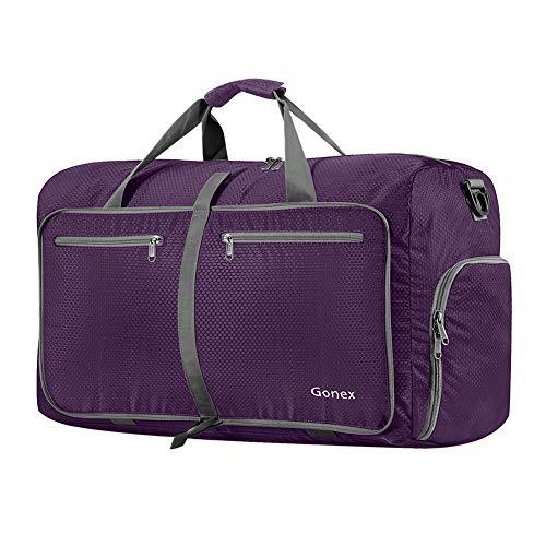 Gonex 60L Foldable Travel Duffel Bag Water & Tear Resistant, Purple ()