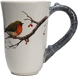 Comfy Hour Farmhouse Home Decor Collection 15oz Robin Bird Mug Water Cup, Stoneware