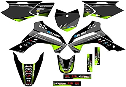 Senge Graphics kit compatible with Kawasaki 2008-2018 KLX 140 Surge Green Graphics Kit