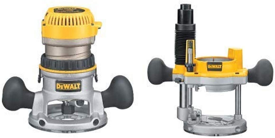 DEWALT DW618 2-1/4 HP Electronic Variable-Speed Fixed-Base Router with DW6182 Plunge Base