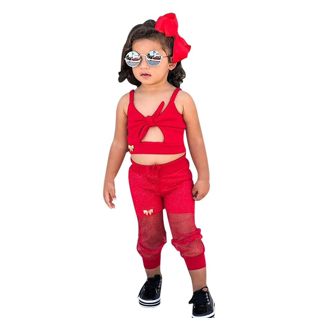 T/üLl Hosen Outfits Eingestellt Kindermode g/ünstige babymode Coole Babykleidung Kinderkleidung,Lookhy Kleinkind S/äUglingsbabym/äDchenkind Feste Riemenoberseiten
