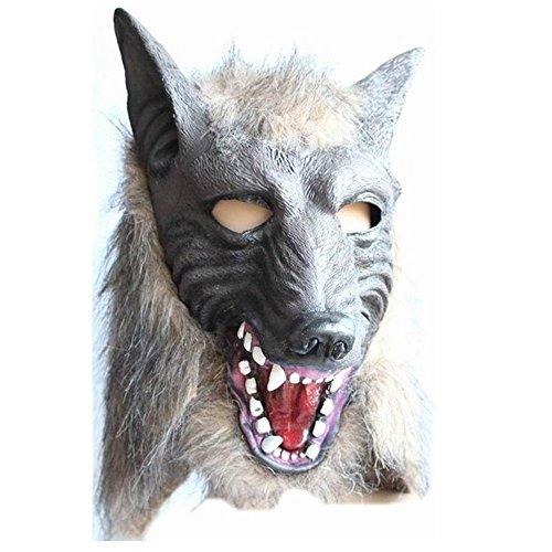 MMRM Men Wolf Mask Halloween Masquerade Werewolf Costume Creepy Latex Fur Mane Gag (Fur Werewolf Mask Halloween)