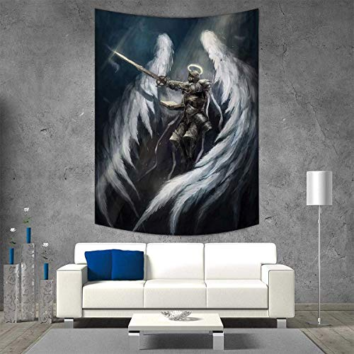 - smallbeefly Fantasy Wall Tapestry Angel Knight with Majestic Wings Spiritual Superior Power Imagination Art Print Home Decorations for Living Room Bedroom 40W x 60L INCH Silver White