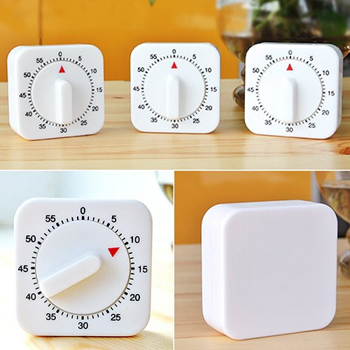 (Kitchen Countdown Timer, yanQxIzbiu Novelty White Square 60-Minutes Mechanical Timer Reminder Counting for Kitchen )