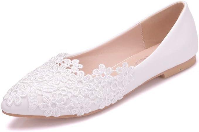 Scarpe Da Sposa Ballerine.Moojm Donne Ballerine Tacco Basso Sandali Pizzo Scarpe Da Sposa