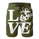 Semper Fi Marine Love Men's Casual Shorts Swim Trunks Fit Performance Quick Dry Boardshorts
