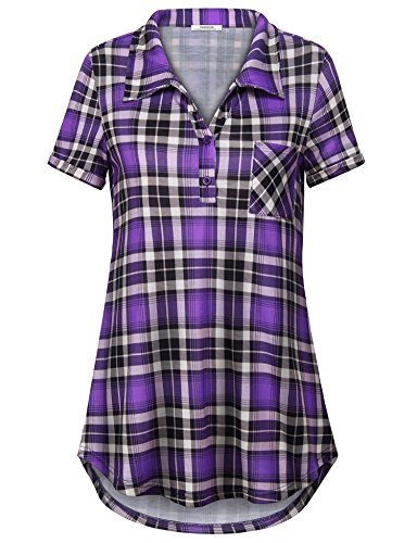 Violet Plaid Shirt - Youtalia Womens 2018 Summer Clothes Short Sleeve Blouses and Tops Plaid Flowy T Shirt Violet M
