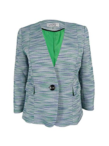 Multi Tweed Jacket (Kasper Women's Size 1 Button Multi Tweed Jacket, Leaf Multi, 6 Petite)