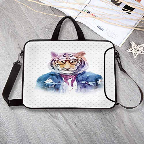 """- Quirky Decor Printing Neoprene Laptop Bag,Intellectual Tiger with Scarf Torn Denim Jacket and Glasses Watercolor Artwork Decorative Laptop Bag for 10 Inch to 17 Inch Laptop,14.6""""L x 10.6""""W x 0.8""""H"""