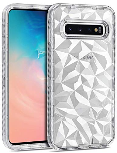 CHEERINGARY Case for Galaxy S10 Plus Case Clear 3D Diamond Pattern Cover Hard PC TPU Bumper Antislip Shockproof Drop Antiscratch Protection Cover for Galaxy S10 Plus 6.4 Inches,Transparent White