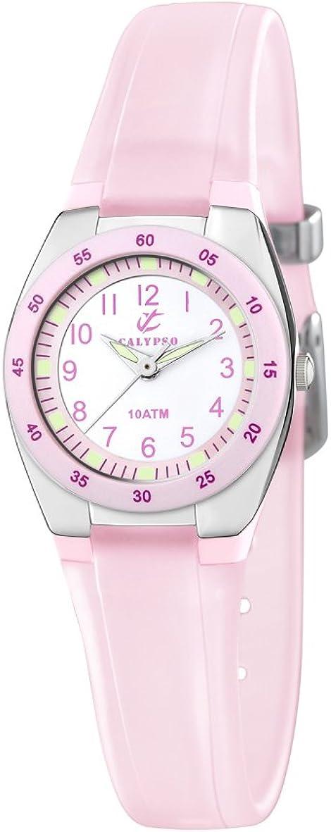 Calypso Watches K6043 - Reloj Analógico de Cuarzo para Mujer, Correa de Plástico Color Rosa