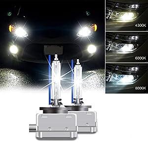 RCP - D3S8 - (A Pair) D3S/ D3R 8000K Xenon HID Repcement Bulb Ice Blue Metal Stents Base 12V Car Headlight Lamps Head Lights 35W