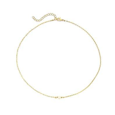14c8df0beb7230 SEAYII Women 1 Pearl Choker Necklace Gold Frashwater Pearl Bead Pendant  Dainty Chain 14K Gold Fill