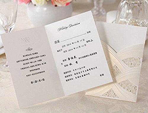 Doris Home Vertical Laser Cut Wedding Invitation with White Hollow Flora 100 pcs by Doris Home (Image #4)