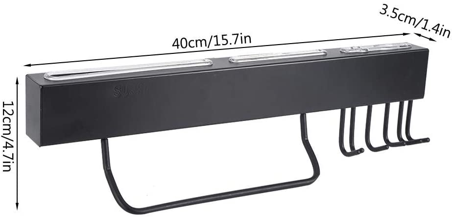 Negro Organizador de utensilios de cocina Portacuchillas magn/ético montado en la pared con toallero y ganchos