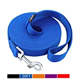 Siumouhoi Dog/Puppy Obedience Recall Training Agility Lead-15 ft 20 ft 30 ft 40 ft 50 ft Long Leash -for Training Leash, Play, Safety, Camping,or Backyard (20Feet, Blue)