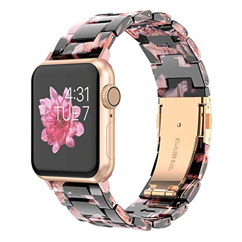 - Wearlizer Womens Floral Strap Compatible with Apple Watch Bands 38mm 40mm iWatch Lightweight Wristbands Dressy Replacement Exclusive Bracelet with Metal Buckle Series 4 3 2 1 Sport Edition