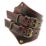 HZMAN Men's Alloy Genuine Leather Belt Leather Buckle Bracelet Cuff Adjustable (Crimson)