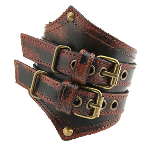 HZMAN Mens Alloy Genuine Leather Belt Leather Buckle Bracelet Cuff Adjustable (Crimson)