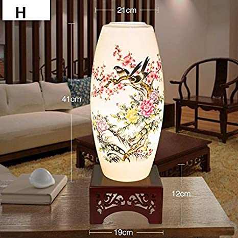 Hand Painted Porcelain Table Lamp Living Room Bedroom Study Bedside Light Modern Chinese Antique Desk Lamp For Special Gift H