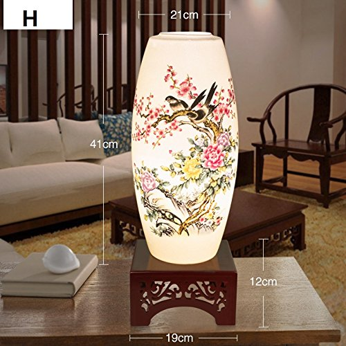 Hand Painted Porcelain Table Lamp Living Room Bedroom Study Bedside Light Modern Chinese Antique Desk Lamp for Special Gift ,H - Chinese Lamp