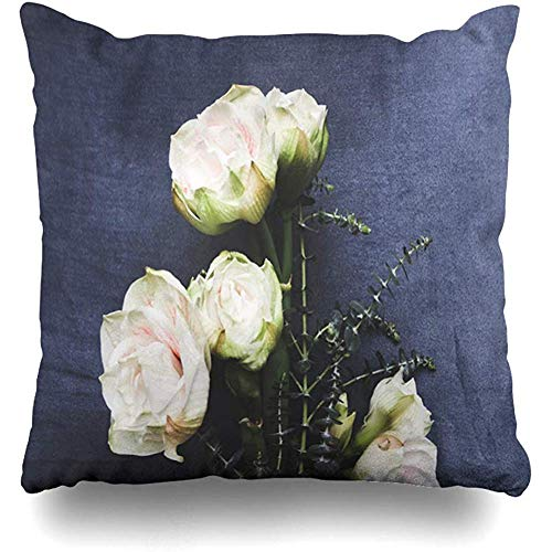 Throw Pillow Cover Cushion Case Square 18x18 Inch Romantic Blue Bulb White Rose Amaryllis Bamboo Leaves On Bouquet Nature Green Bloom Blossom Home Decor
