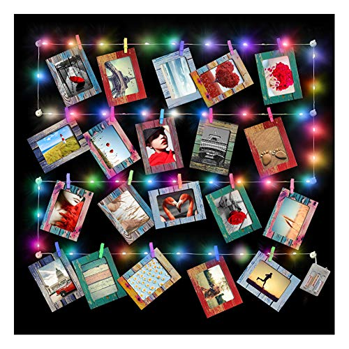 Artsay 20 Pack Paper Picture Frames 4x6 with Wood Clips and String Light, Multi Color, DIY Photo Collage Wall Hanging Display (Collage Picture Frames Multicolor)