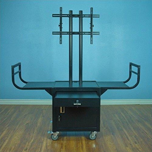 VTI Large Flat Panel 65'' Monitor Cabinet Cart in Black Powder Paint