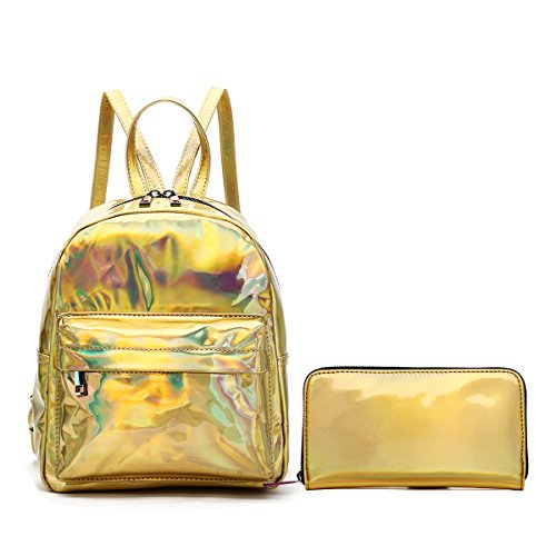 Blue Heaven Medium Holographic PU Leather and Rainbow Zip Hologram Fashion Backpack & Wallet Set