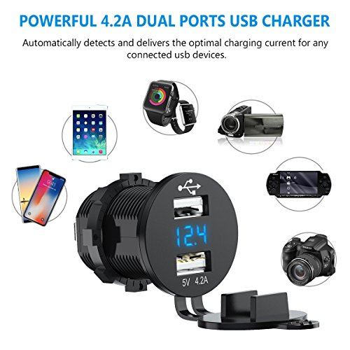 USB Charger Socket CHGeek 12V//24V 4.2A USB Car Charger Power Outlet Adapter Waterproof with LED Digital Play for Car RV ATV Boat Marine Motorcycle Mobile