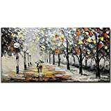 Yotree Paintings, 24x48 Inch Paintings Snowy Night Rainy Road Oil Hand Painting Painting 3D Hand-Painted On Canvas Abstract Artwork Art Wood Inside Framed Hanging Wall Decoration Abstract Painting