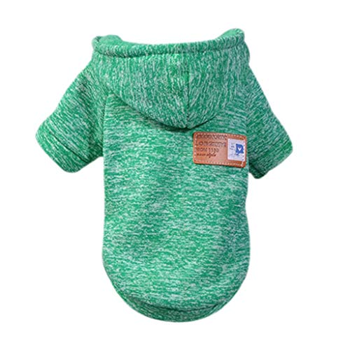 Clothes for Pet Dog Puppy Classic Hooded Sweater Clothes Winter Costume Apparel Dress Knitwear Dog Vest Cold Weather Coat Small Dog Pet Jacket for Dog Cat Puppy Dog Outfits Sweatshirt (Green, XL)