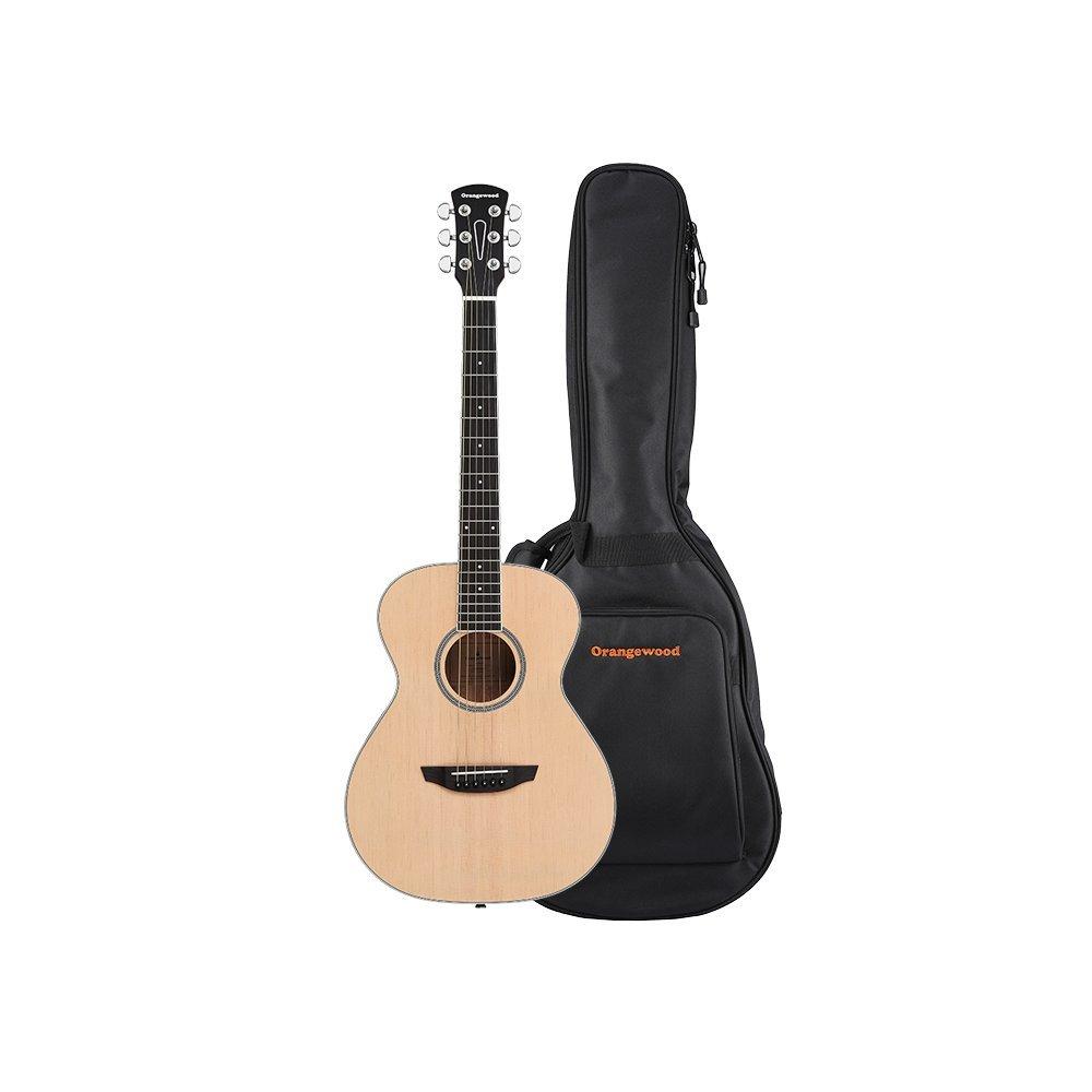 Orangewood Dana Mini/Travel Acoustic Guitar with Spruce Top, Ernie Ball Earthwood Strings, and Premium Padded Gig Bag Included by Orangewood