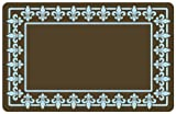Bungalow Flooring 2 by 3-Feet Surfaces Floor Mat, Fleur De Lis, Brown with Blue