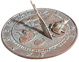 Whitehall Products Frog Sundial, Copper Verdi