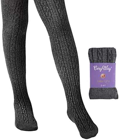 154371c887282 CozyWay Girls Cable Tights Cotton Cable Knit Footed Pantyhose Little Girls  Toddler Leggings Seamless 2t 4t