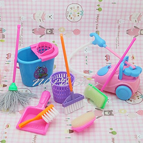 9pcs/set Cute Doll Furniture for Kids Play House 1/6 Doll Accessories Mini Vacuum Cleaner for Baby