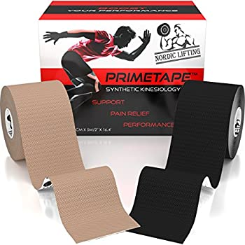 """Nordic Lifting Kinesiology Tape (2-Pack) PrimeTape - Pro Sports & Athletic Taping for Knee, Shin Splints, Shoulder and Muscle - 2"""" X 16.4' per Roll Uncut - Orthopedic Therapy Method - by trade"""