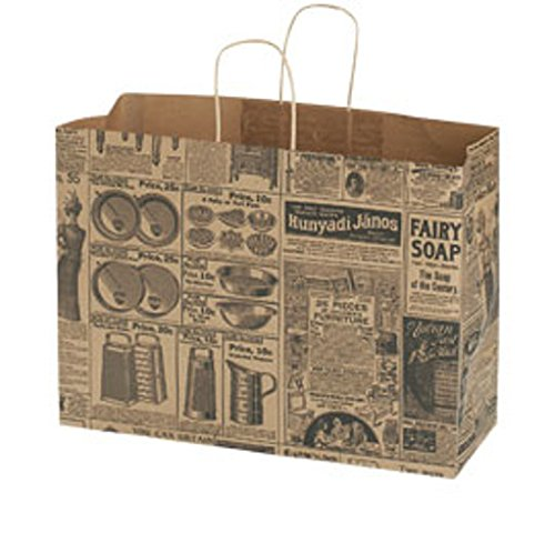 100 Large Newsprint Paper Shopping Bags with gusset handles 16'' X 6'' X 12'' by Shopping Bag
