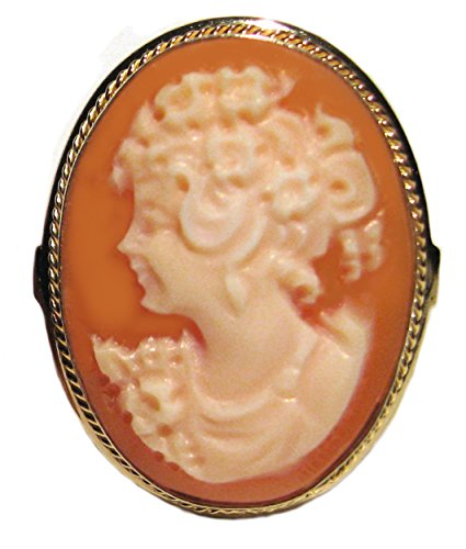 Cameo Ring Summer Dream Italian Master Carved, Sterling Silver 18k Gold Overlay Carnelian Shell Size 7.75 by cameosRus